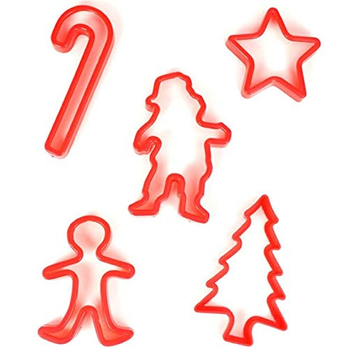 Christmas Kostüm Cookie - Set Of 5 Christmas Cookie Cutters Fun Festive Xmas Family Table Wear Party Food Idea Candy Cane Star Tree Santa Gingerbread Man