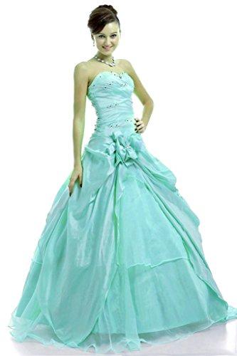 Vantexi Damen Trägerlosen Abendkleid Ballkleid Formal Partykleid Türkis