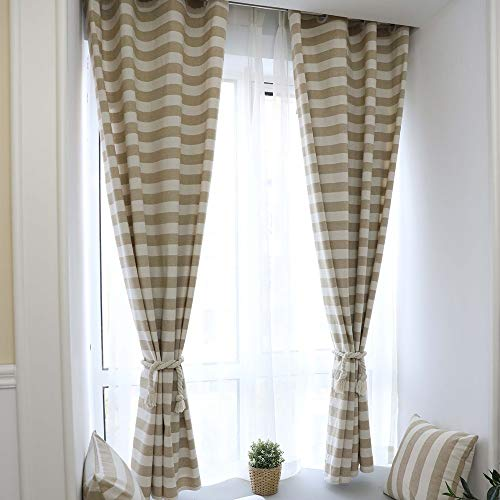 ZiJieShiYe Startseite doppelseitig garngefärbte Baumwolle gestreifte Studie Erkerfenster vom Boden bis zur Decke reichenden Fenstern einfache Moderne Vorhänge (Color : Beige, Size : 140 * 215 Punch) -