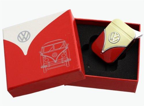 Preisvergleich Produktbild Original Volkswagen Feuerzeug im Frontschild Design - in verschiedenen Farben - Geschenkset (VW-Bulli-rot-gelb)