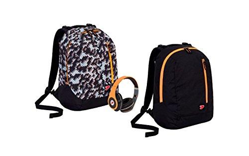 Zaino seven the double - grey brick - nero arancione - cuffie stereo con grafica abbinata incluse! 2 zaini in 1 reversibile