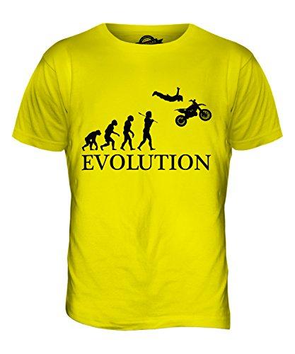 CandyMix Motorrad Stunt Stuntman Evolution Des Menschen Herren T Shirt Zitronengelb