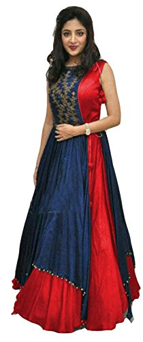 Clickedia Women\'s Heavy Banglory Silk Jacket Style Semi Stitched Red & Blue Floor Length Gown - Dresses