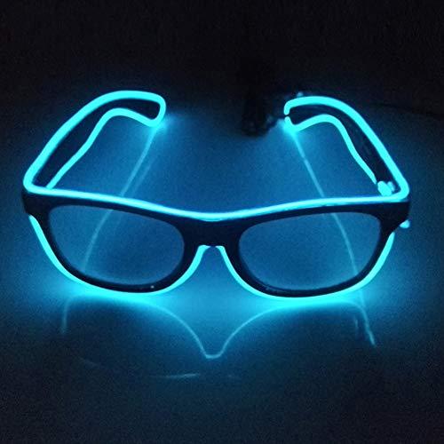 San Zhi LED Leuchtend Brille EL Wire Brillen mit Schaltersteuerung, Neuheit Kleid Dekor für Weihnachtsfeier (Dunkelblau) (Halloween Dekor Gläser)