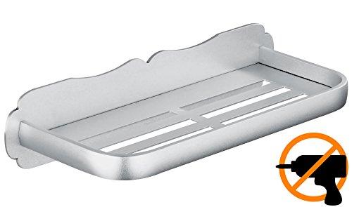 Wangel adesivo forte mensola bagno doccia, colla brevettata + autoadesivo 3m, alluminio, finitura opaca