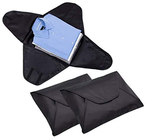 ZOLLNER portacamicie/custodia da viaggio per camicie/proteggi abiti dallo stropicciamento in valigia, set di 3 pezzi, in plastica idrorepellente, msiura di ca. 40x30 cm nero, serie 'Shirt-Care'
