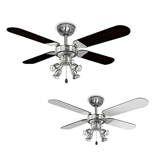 MiniSun Chrome 42″ / 107cm Modern Ceiling Fan with Spot