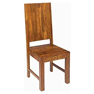 Pair Of Solid Sheesham Wood High Back Dining Chair Cube Sheesham Dining Room