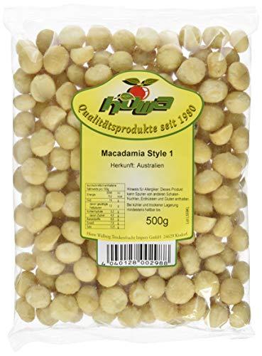 Howa Macadamia Nüsse roh Kerne naturbelassen, 500 g (Gesalzene Nüsse Pekannüsse)