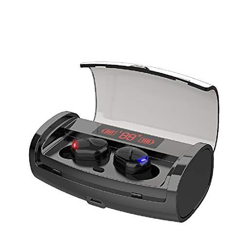 Auricolari wireless Bluetooth 5.0, impermeabili, IPX5 nero, mini cuffie 8D stereo, bassi trasparenti, chiamate binaurali con custodia di ricarica, display...