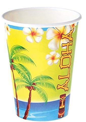 erdbeerparty- Party Dekoration Becher Motto Hawaii Hula Aloha 8 Stück, Mehrfarbig