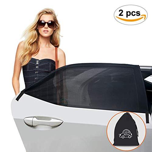 MINLUK Sonnenschutz Auto Baby (2er Set) Sonnenblende Auto Kinder mit UV Schutz für Seitenscheiben ohne Saugnapf mit Aufbewahrungstasche faltbares Meshmaterial für die meisten Autos und SUVs