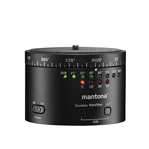 Mantona Turnaround 360 Revision 2, elektronischer Stativkopf für Zeitraffer, Panorama und Intervall Fotoaufnahmen, schwarz -