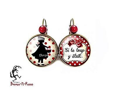 """Boucles d'oreilles"""" Si le loup y était"""" petit chaperon rouge pois rouges bijou fantaisie verre dormeuses"""
