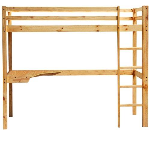 Miadomodo hbt01 cama alta para ni os con escritorio for Plan lit en bois