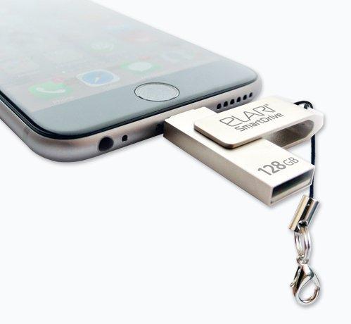 Elari SmartDrive. Ultrakompaktes und superschnelles Lightning/USB Flash-Speicher. Apple MFI bescheinigt. 128 Gb.