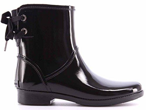 Michael Kors Women's Shoe Ankle Boots Larson Rainbootie Rubber Black Natural New