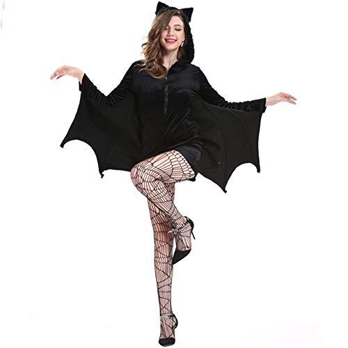 Plus Kostüm Fledermaus Größe - Halloween Frauen Plus Größe Gemütliches Fledermaus Reißverschluss Kleid Kostüm, M-4XL