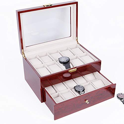 Chyuanhua Uhr Anzeigen Box Farbe Klasse Uhren Schmuckschatulle Uhr Aufbewahrungsbox Verpackung (Farbe : Rot, Größe : F)