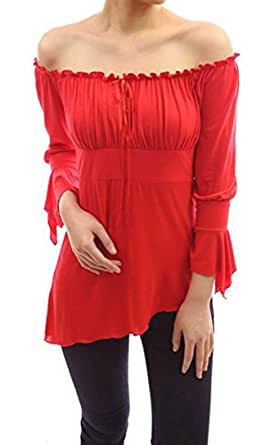 ACEVOG Damen Schulterfrei Langarmshirt Asymmetrische Bluse Rot S
