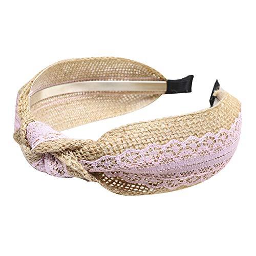 mAjglgE Haarband,Süße Frauen Headwear Color Block Lace Patchwork Twist geknotet Haarband Stirnband Pink Block Headwear
