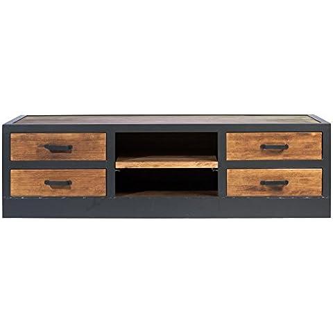 indhouse–Mobile TV Loft in stile industriale in metallo e legno