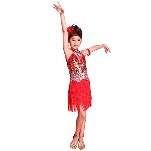 ESHOO Mädchen Kinder Sequined Latein Salsa Tassel Dancewear Tanzen Kleid Kostüm Beaded Fringe Skirt