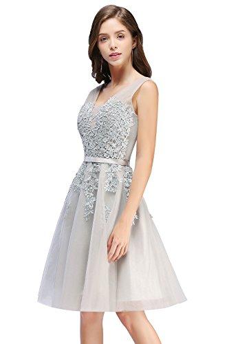 Damen Prinzessin Tüll V-Ausschnitt Brautjunfernkleid Applique Ballkleid Abendkleid Rückenfrei Kurz Gr.32-46 Grau
