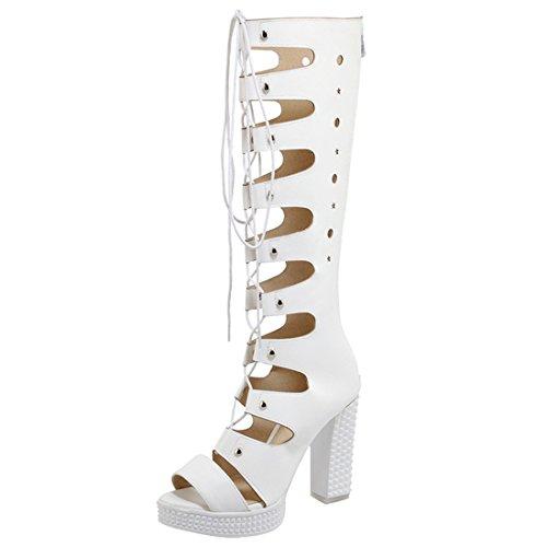 Artfaerie Damen Plateau Knie Hoch Sommer Stiefel mit Schnürung und Reißverschluss Blockabsatz High Heels Sandalen Open Toe Mode Schuhe