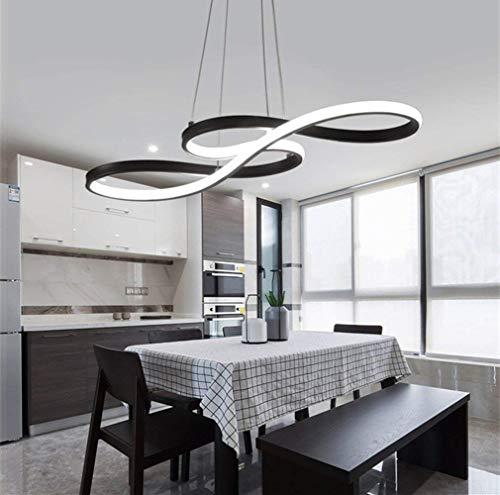 HSWR LED Pendelleuchte Esstisch Hängelampe Dimmbar Modern Deckenleuchte Höhenverstellbar Hängeleuchte Pendellampe Esszimmer Kronleuchter mit Fernbedienung (Schwarz,38w Dimmbar)