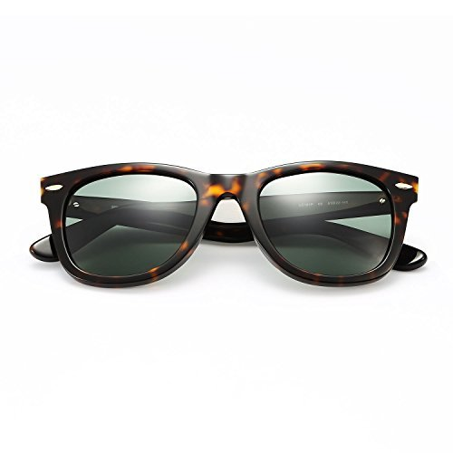 LUMCHO Unisex-Erwachsener Wayfarer-Sonnenbrille polarisiert Mazzucchelli Azetat Rahmen, High-Definition-Objektiv, UVA- / UVB- Schutz groß Schildkröte