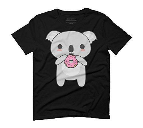 Kawaii Koala Eating A Donut Men's Graphic T-Shirt - Design By Humans Black