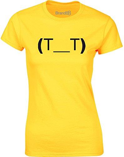 Brand88 - Crying Emoticon, Gedruckt Frauen T-Shirt Gänseblümchen-Gelb/Schwarz