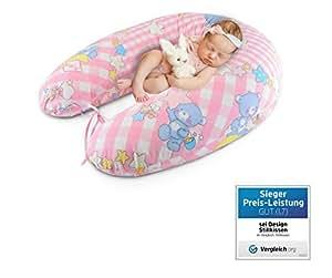 Oreiller qualité bébé, coussin d'allaitemen de Sei Design 190 x 30cm, remplissage constitué de boules de fibres - très doux et confortable. Avec zip et broderie de haute qualité.