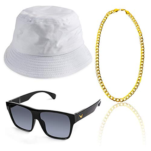 (Beelittle 3pcs 80er / 90er Jahre Hip Hop Kostüm Kit Old Style Coole Rapper Outfits - Bucket Hat übergroße Schwarze Sonnenbrille Gold Plated Chain (D))