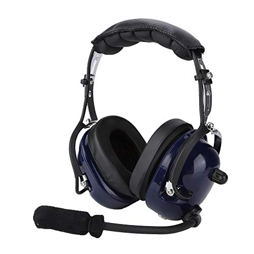 Garsent Aviation Headset, Noise Cancelling-Funk-Headset mit CC-Ken-Spiralkabel 3,5-mm-Funk-Headset für Flugzeugpiloten. Noise Cancelling Aviation Headsets