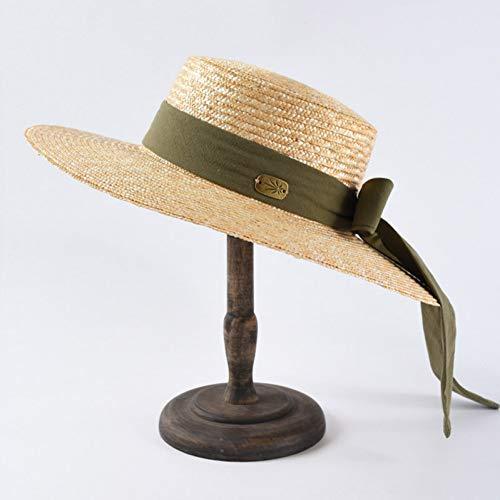 GWLYDB Neue Art und Weise breitkrempigen Sommer-Strand-Hut-Stroh-Frauen Fedora-Hut mit dem Band-Bogen für Feiertag Derby Audrey Hepburn