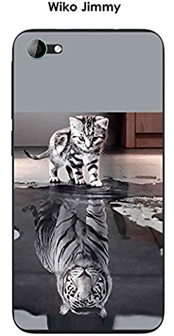 Coque Wiko Jimmy design Chat Tigre Blanc