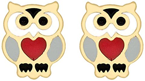 Carissima Gold 9ct Yellow Gold Red Enamel Heart Owl Stud Earrings