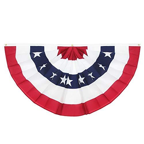 Anley? Bandera de Abanico Plisada de EE. UU 45x90 cm Banderas de Abanico de Estados Unidos Patriótica Barras y Estrellas - Color Intenso y Resistente A LA DECOLORACIÓN