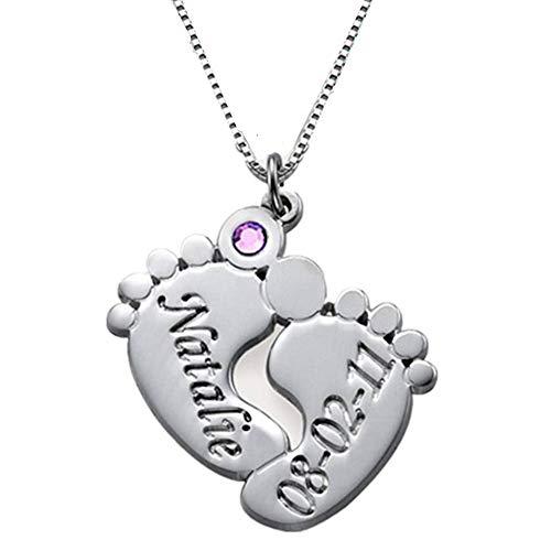 Collienght Fußring Name Geburtstag Intarsien Birthstone Halskette Halloween (Silver 22)