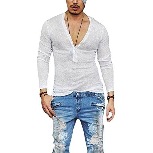 (Kobay-Herren Heiß Casual Slim Fit tiefem V-Ausschnitt Sommer Langarm T-Shirt Grundlegende Shirt)