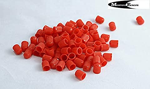 20 Plastic Tyre Valve Dust Caps RED
