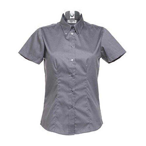 Kustom Kit Ladies Oxford Short Sleeve Shirt Charcoal