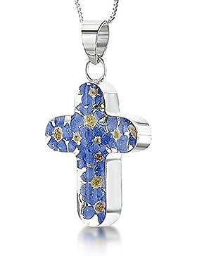 :Shrieking Violet: Kreuz-Anhänger inklusive Kette mit echtem Vergissmeinnicht, Sterling Silber 925 in Geschenkbox