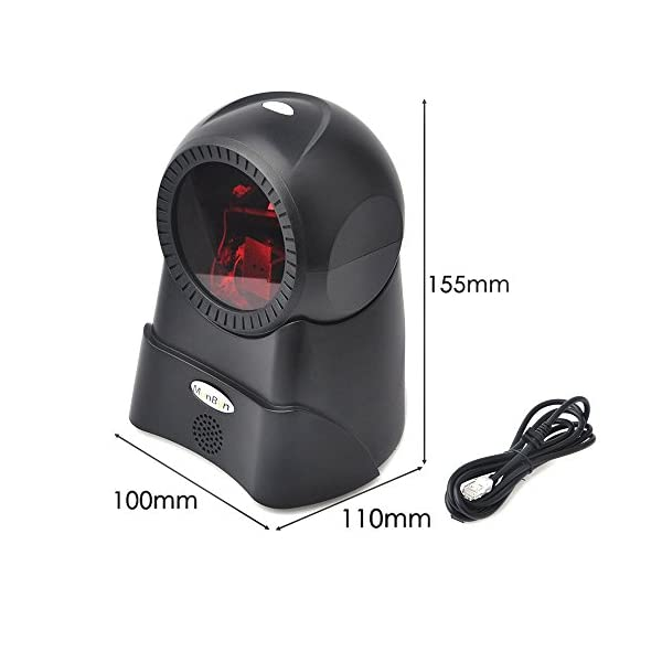 1D Wired Omnidirectional Handsfree Barcode Scanner MUNBYN Laser USB Barcode  Reader for Windows PC 100 Lines Plug and Play
