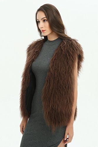 Ferand - Gilet Elegante Senza Maniche in Vera Pelliccia di Agnello Mongolo Ideale per Inverno - Donna Marrone