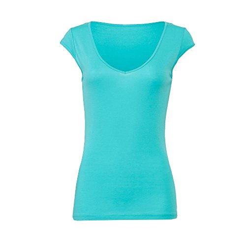Bella - Tori - leichtes T-Shirt mit V-Ausschnitt Teal