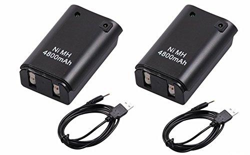 booEy 2x Controller Akku Pack für Xbox 360 4800mAh mit Ladekabel schwarz