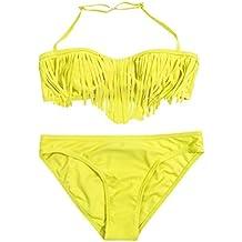 Niños Bebé Niña Sólido Borla Bikini Conjunto Traje De Baño ...
